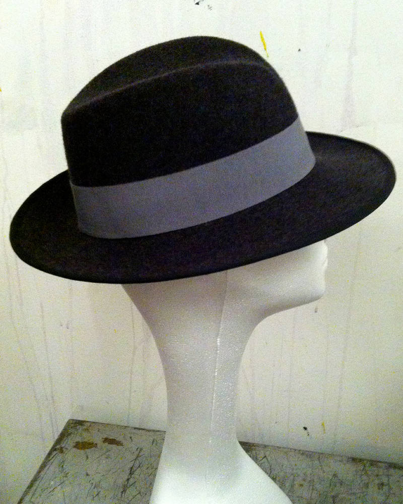 Charcoal fedora with grey trim by Fiona Menzies
