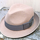 Alabaster trilby with grey trim and gunea fowl by Fiona Menzies