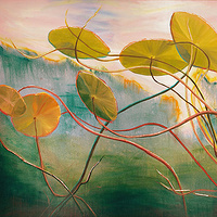 Mixed-media artwork Water lilies 7, 2013 by Sandra  Martin
