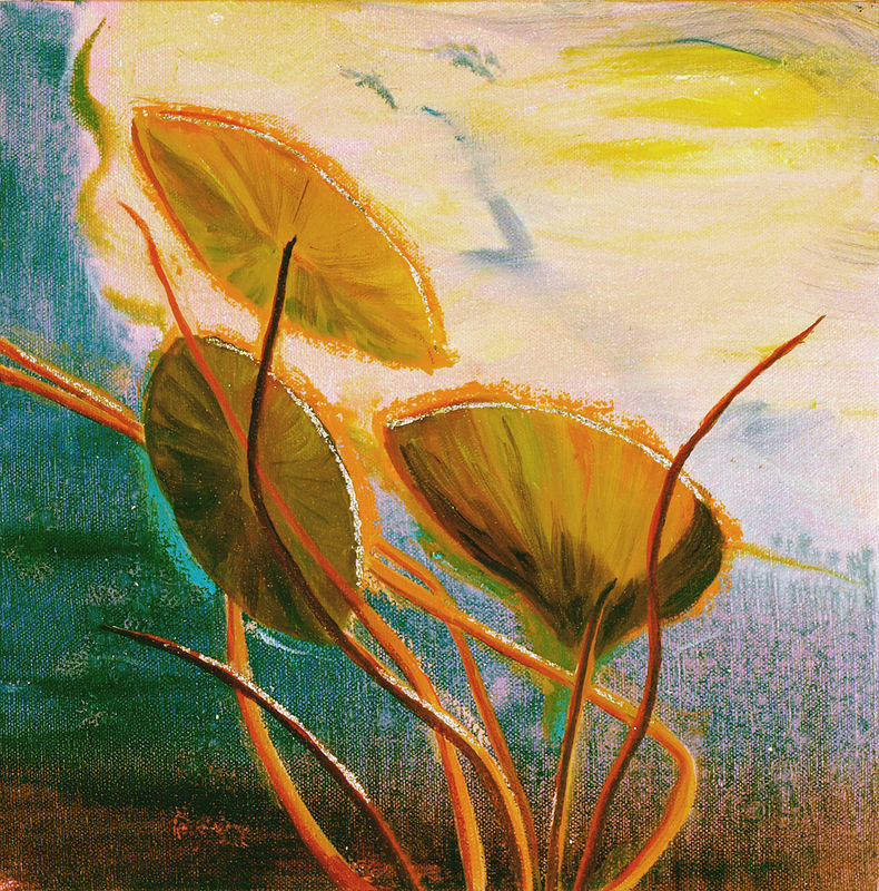 Mixed-media artwork Water lilies 11, 2013-SOLD by Sandra  Martin