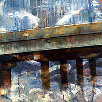 Mixed-media artwork Fading Bridge, 2012 by Sandra  Martin