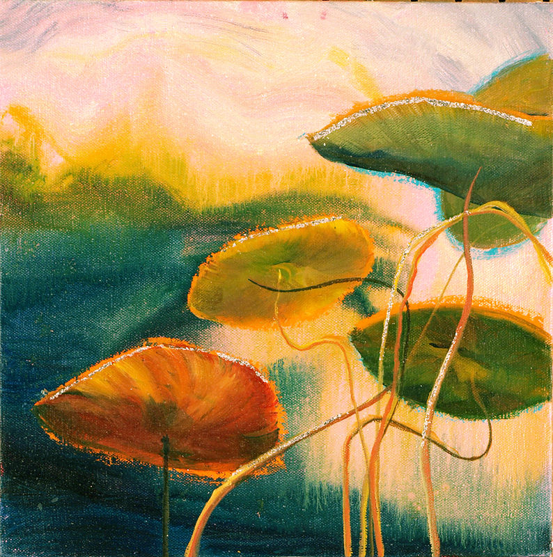 Mixed-media artwork Water lilies 9, 2013-SOLD by Sandra  Martin