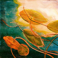 Mixed-media artwork Waterlilies 8, 2013-SOLD by Sandra  Martin