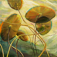 Mixed-media artwork Water lilies 12, 2013 by Sandra  Martin