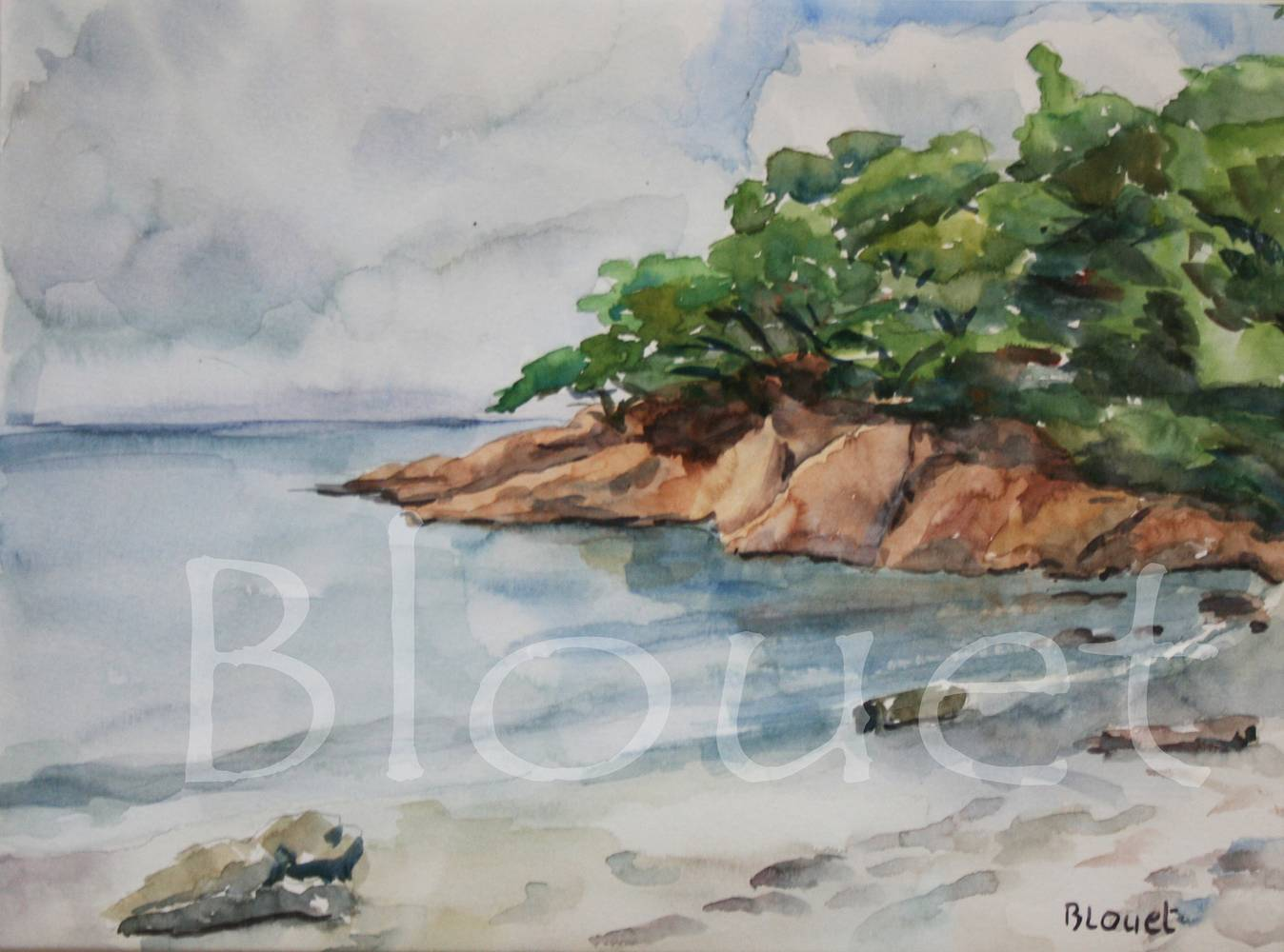 Watercolor Anse du Bon Renaud by Sophie Dassonville