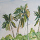 Watercolor Coconut Grove by Sophie Dassonville