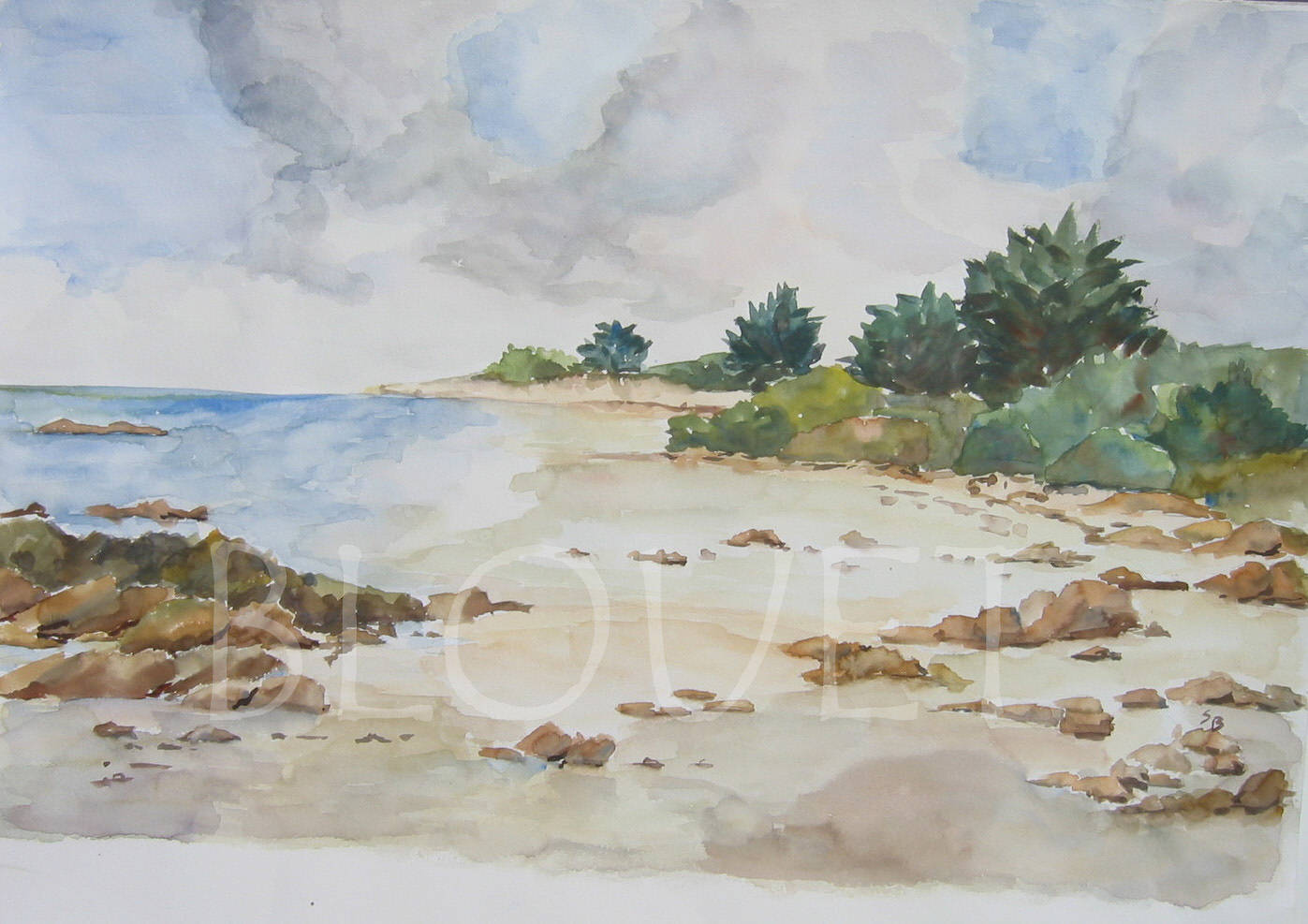Watercolor Ile d'Yeu 1 by Sophie Dassonville