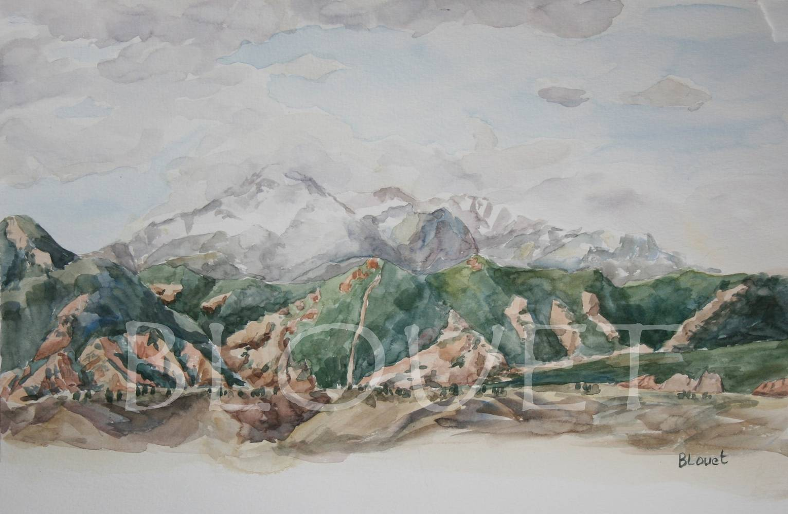 Watercolor Pikes Peak by Sophie Dassonville