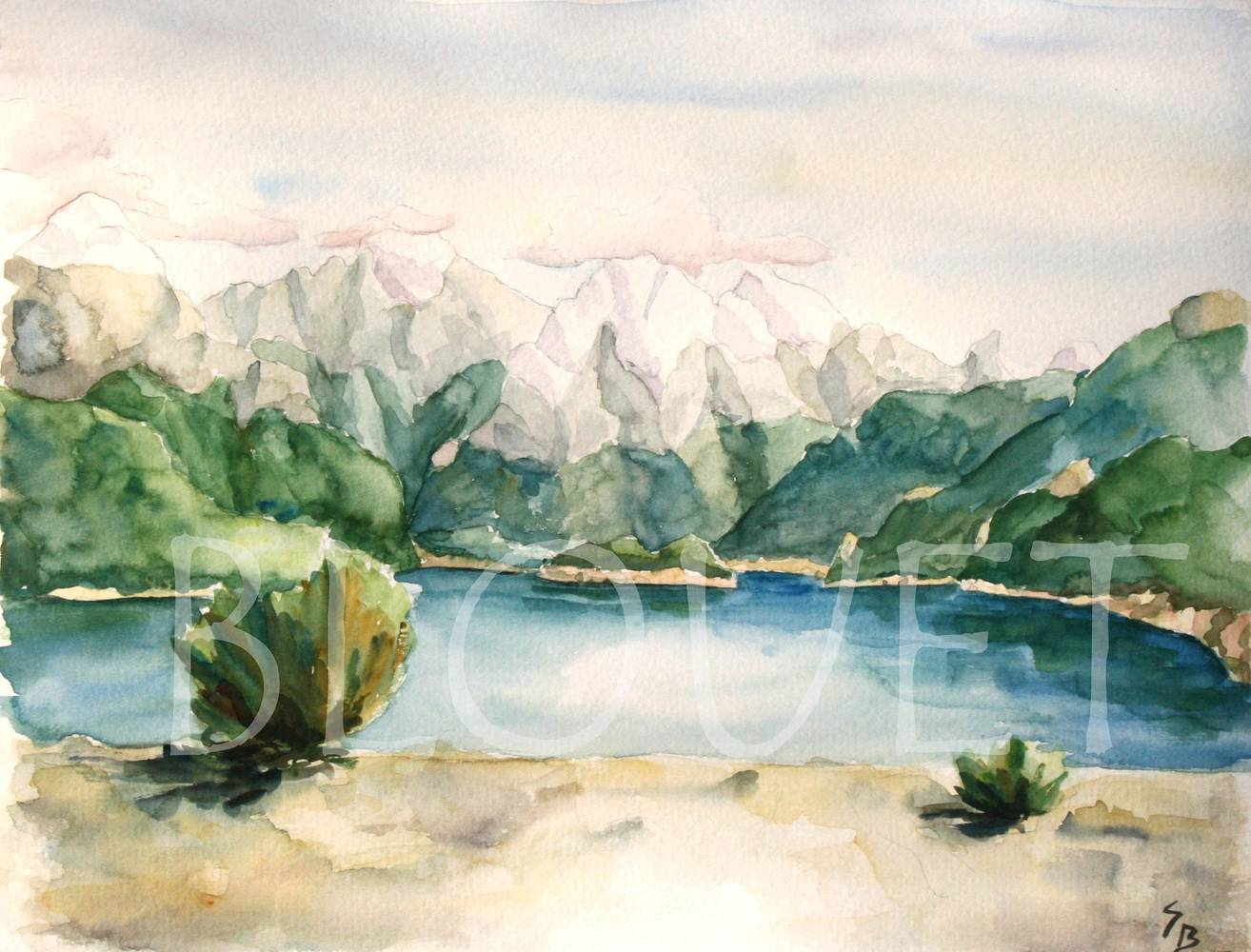 Watercolor Lac de tous les Saints by Sophie Dassonville