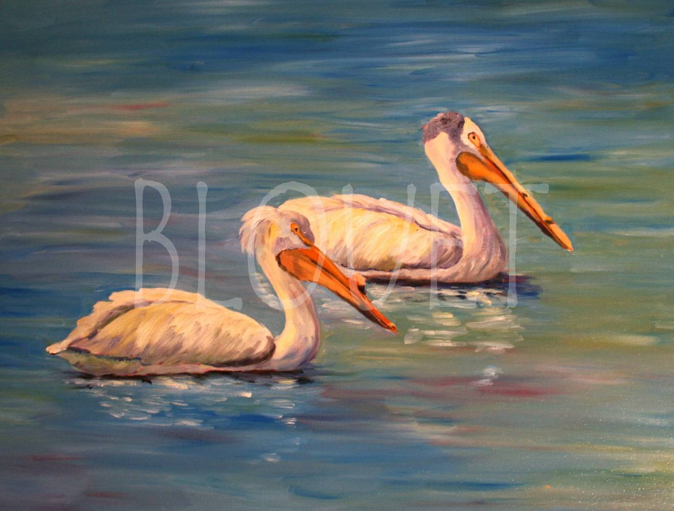 Oil painting Cherry Creek 2 Pelicans by Sophie Dassonville
