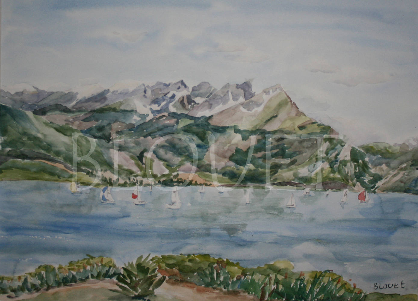 Watercolor Race in Lake Dillon by Sophie Dassonville