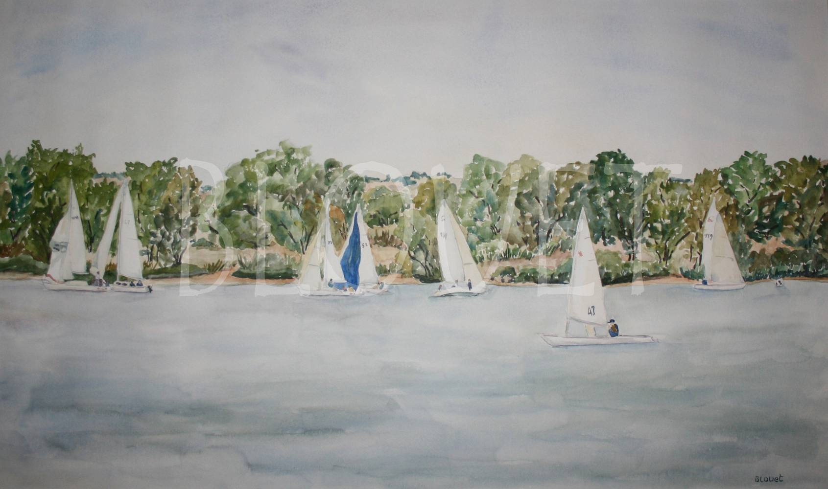 Watercolor Race at Cherry Creek by Sophie Dassonville