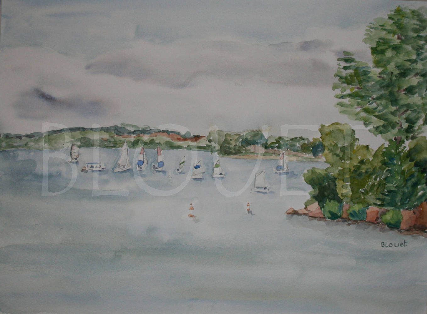 Watercolor Cherry Creek Jr Sailing by Sophie Dassonville