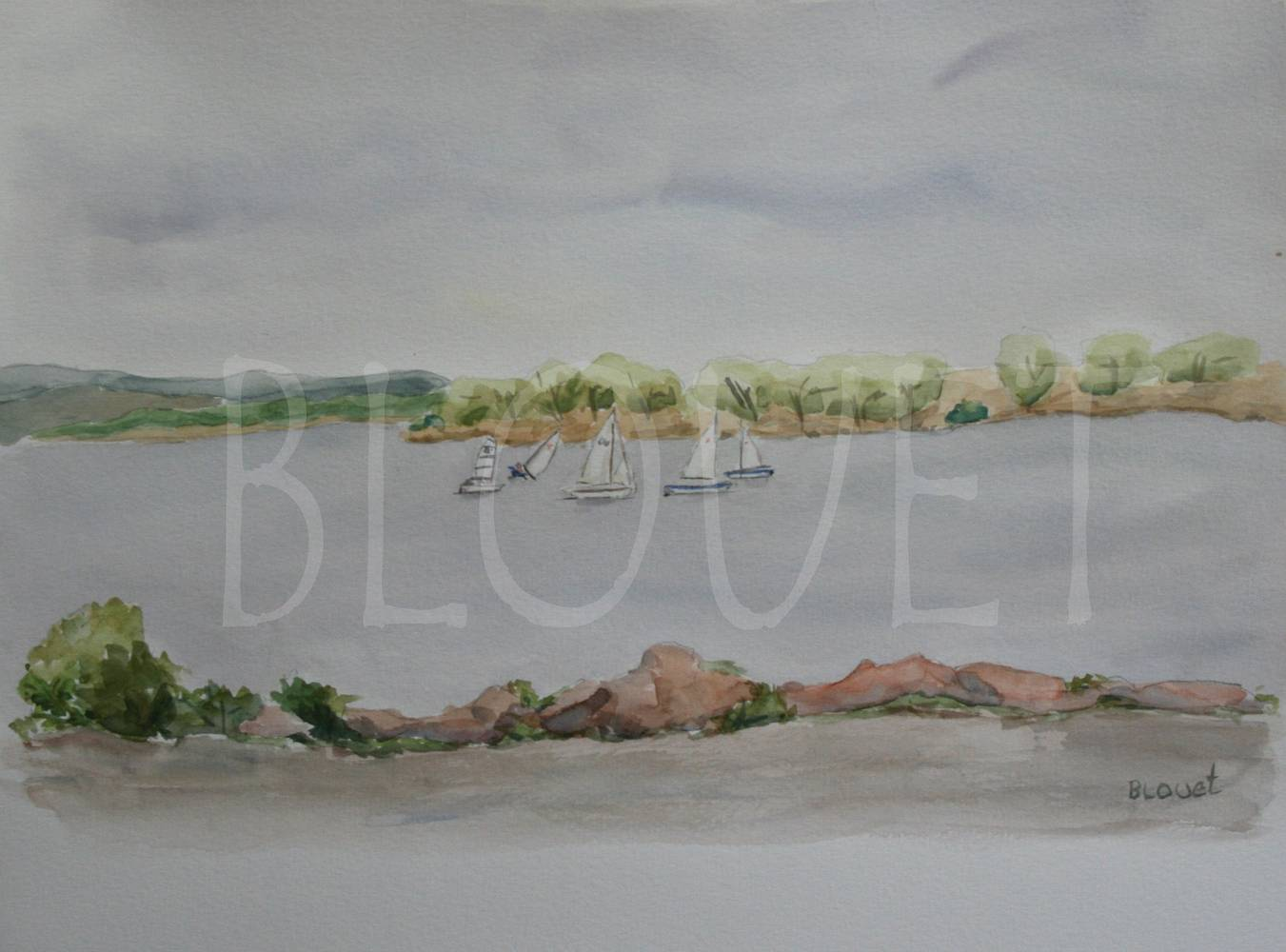 Watercolor Cherry Creek Dinghies by Sophie Dassonville