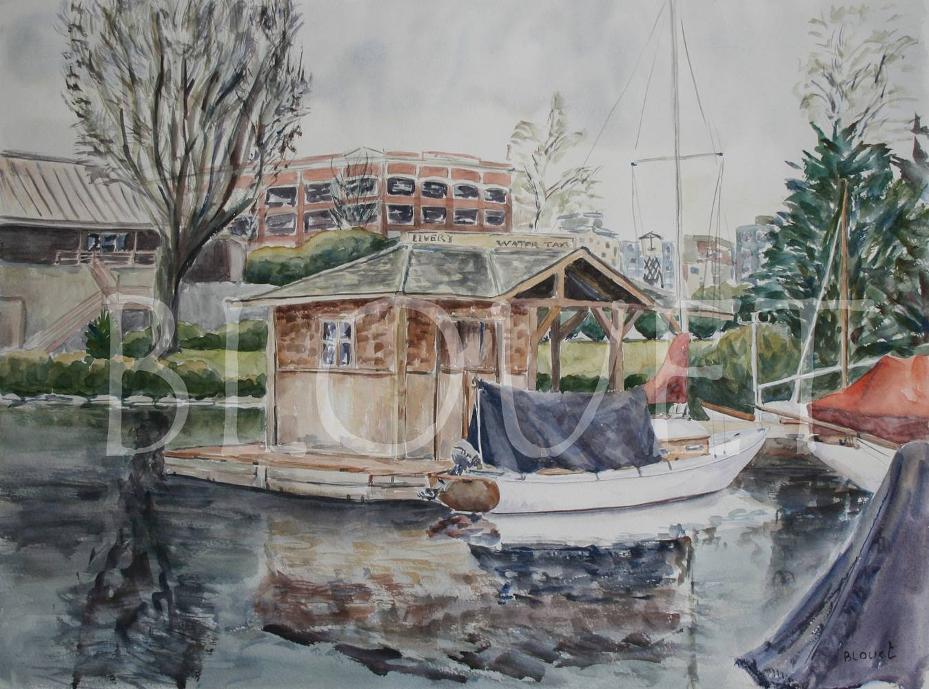 Watercolor Center for Wooden Boat: hivernage by Sophie Dassonville