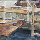 Watercolor Center for Wooden Boat Canoe by Sophie Dassonville