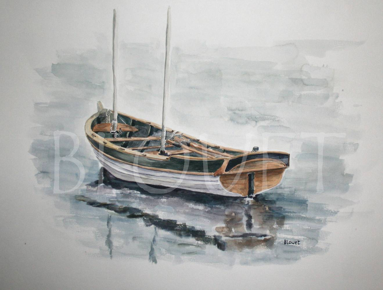 Watercolor Barque blanche by Sophie Dassonville