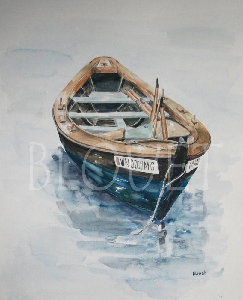 Watercolor Barque bleue by Sophie Dassonville