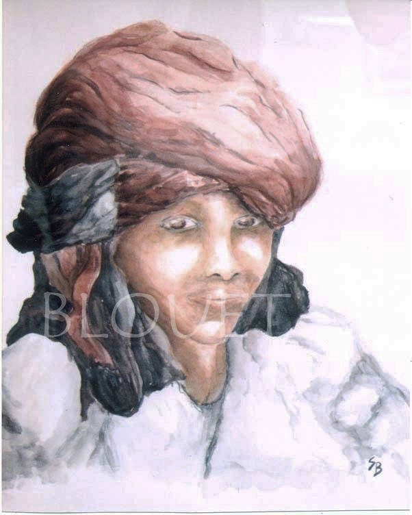Watercolor Jeune fille au turban rouge by Sophie Dassonville