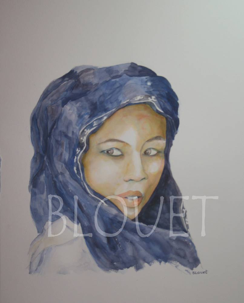 Watercolor Jeune fille au foulard violet by Sophie Dassonville