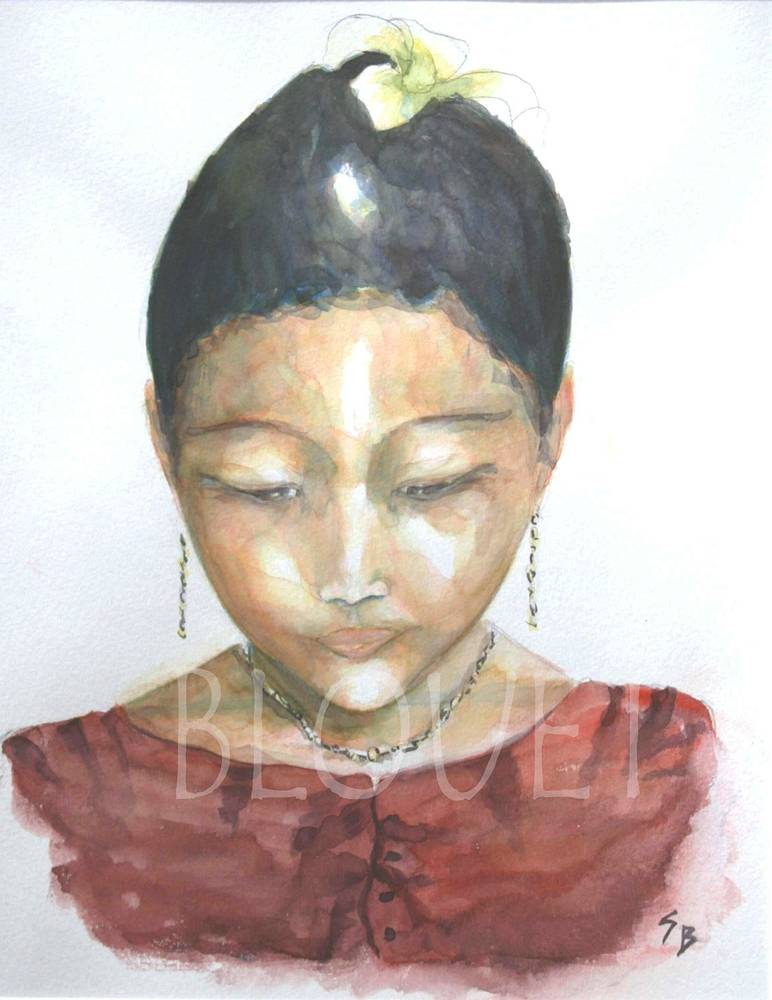 Watercolor Jeune fille Thai by Sophie Dassonville