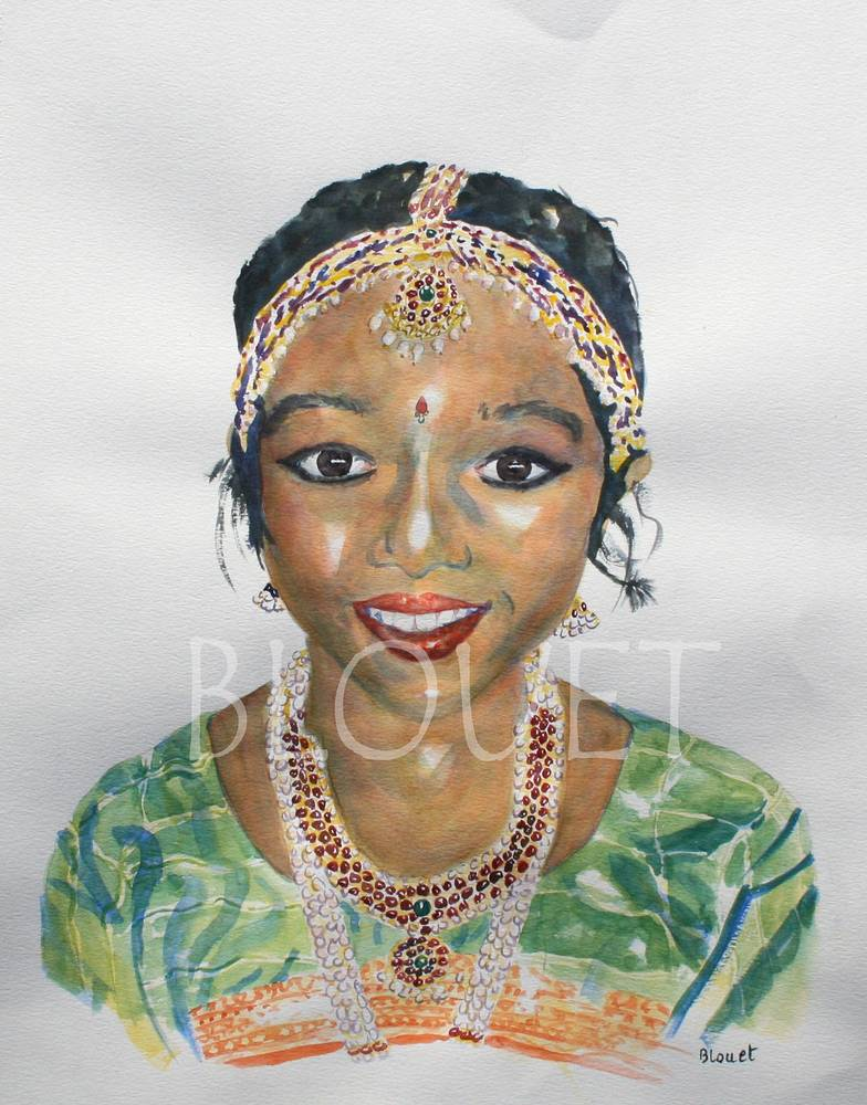 Watercolor Indian Dancer 2 by Sophie Dassonville