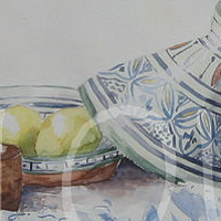 Watercolor Plat a tajine by Sophie Dassonville