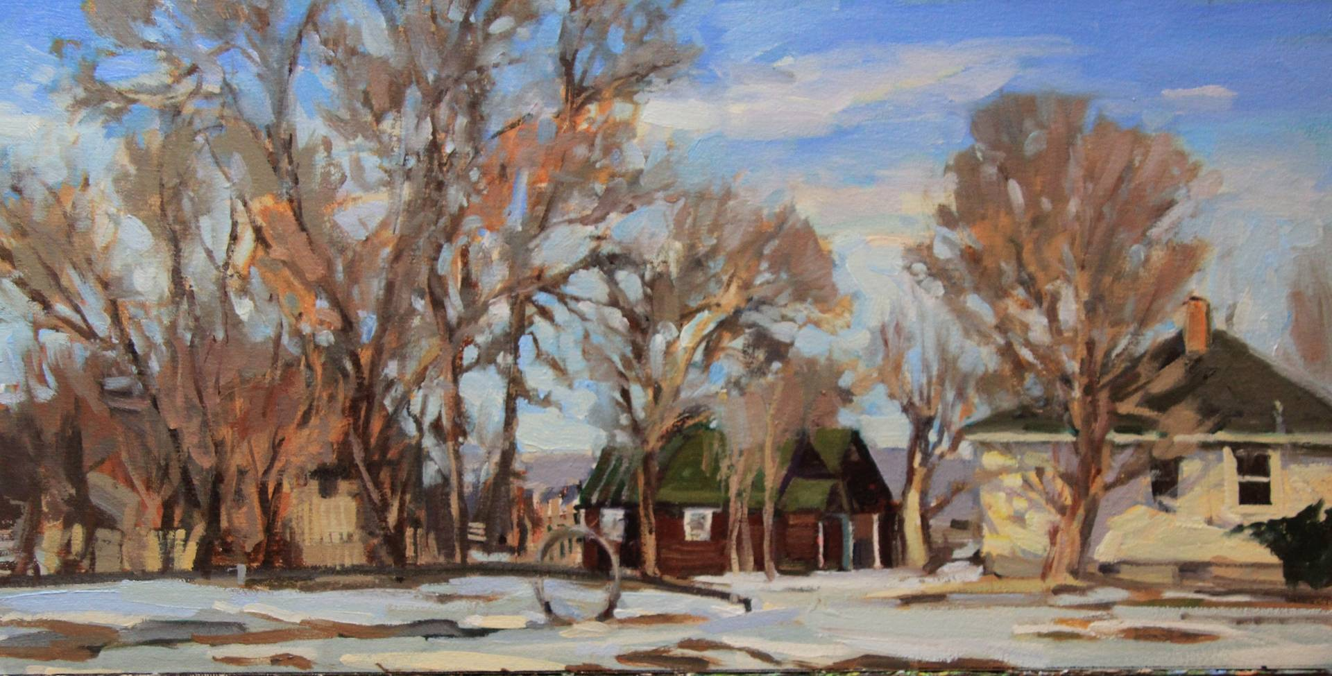 Oil painting Little Maroon House by Susette Gertsch