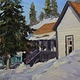 Oil painting Park City Winter Cottage Purple Trim by Susette Gertsch