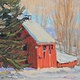 Oil painting Bonner Brother's Barn Winter by Susette Gertsch