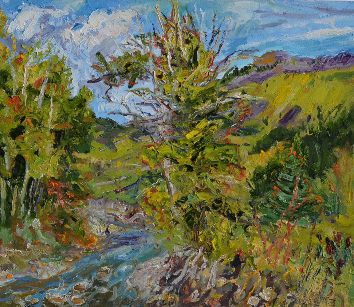 Oil painting East of Sparlton B.C 2013 by Peter Barron