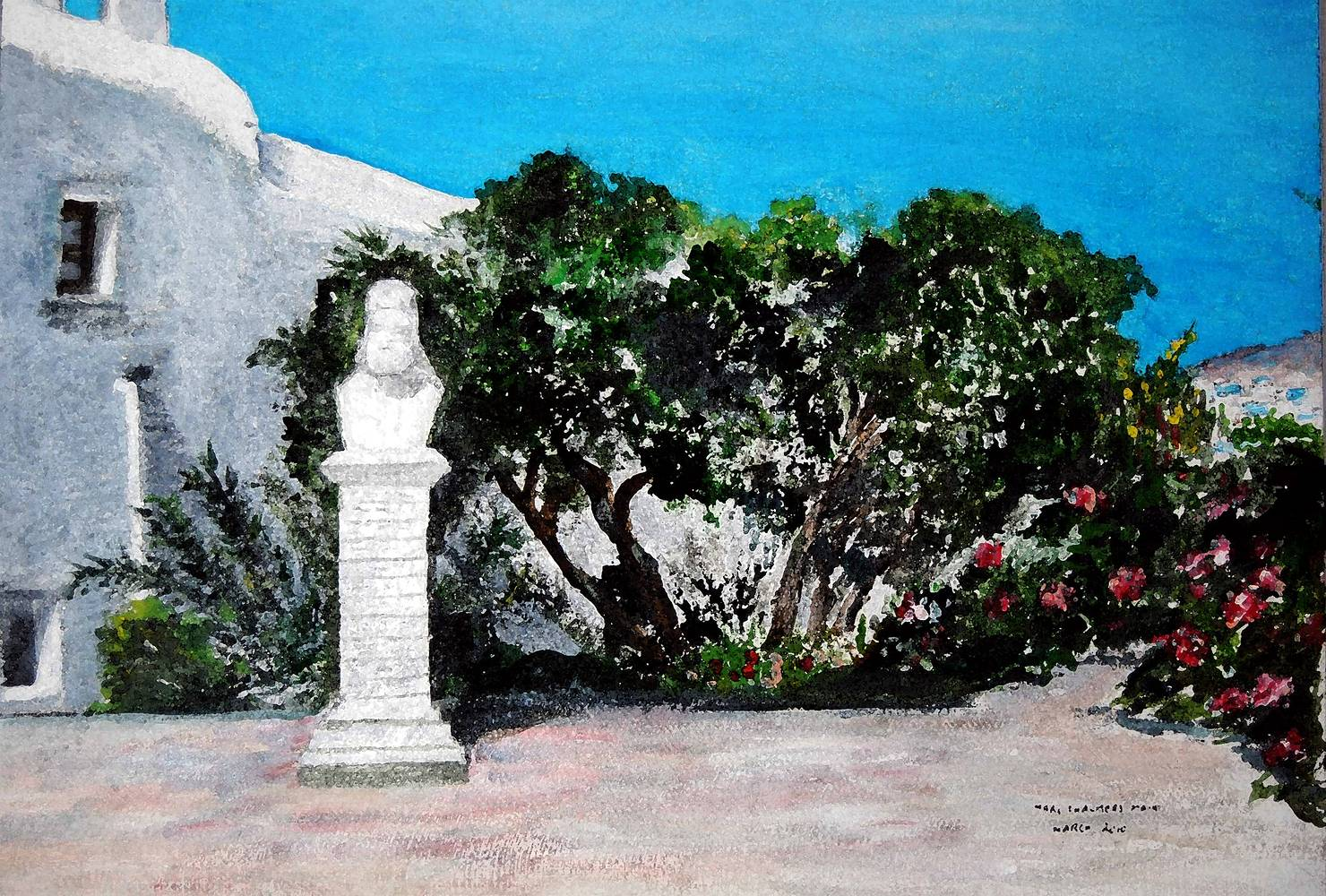 Acrylic painting Monastery at Mykonos by Mary Chalmers Main
