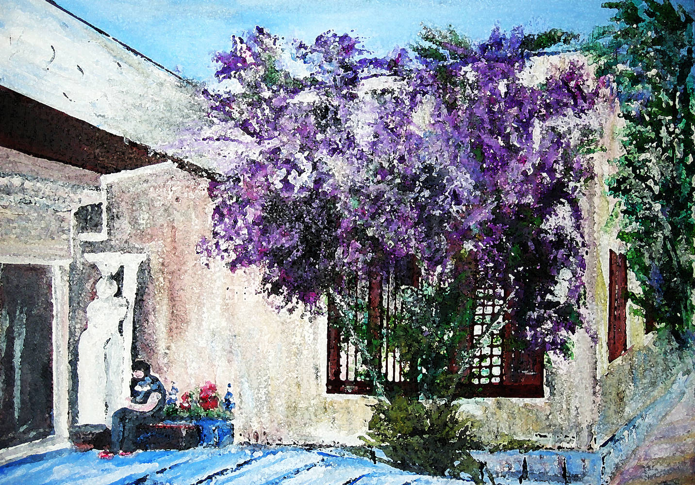 Acrylic painting The Museum at Ephesus  by Mary Chalmers Main