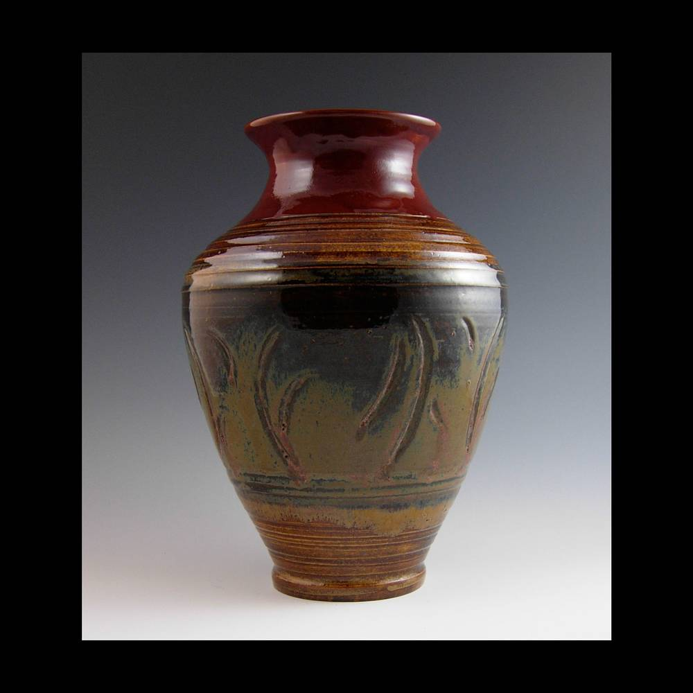 RED CARVED VASE  by Elaine Clapper