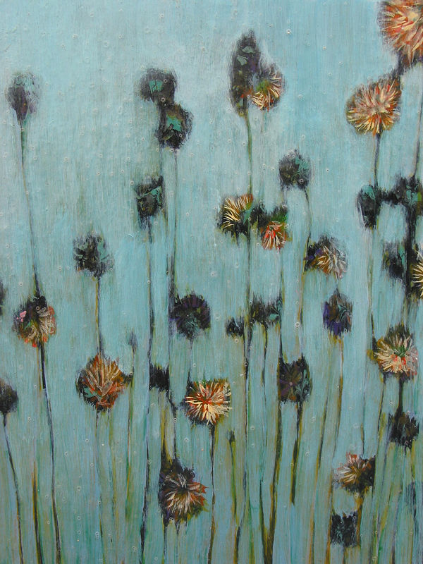Acrylic painting Blue Flowers  by Linda Henningson
