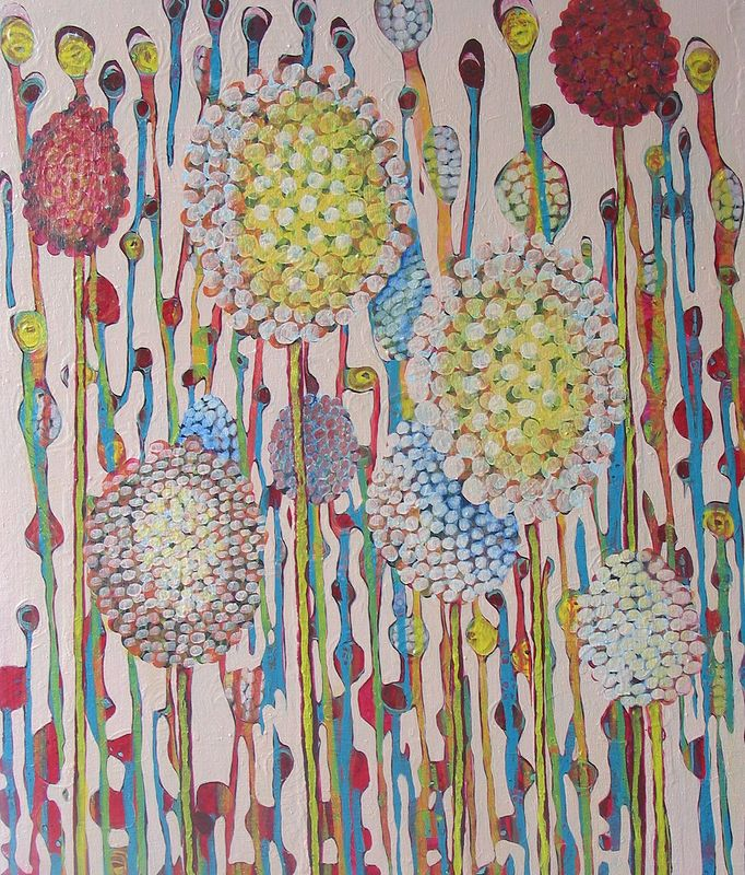 Acrylic painting Bubblegum and Popcorn by Linda Henningson