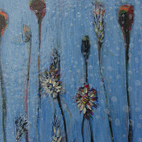 Acrylic painting Blue Flowers #2 by Linda Henningson