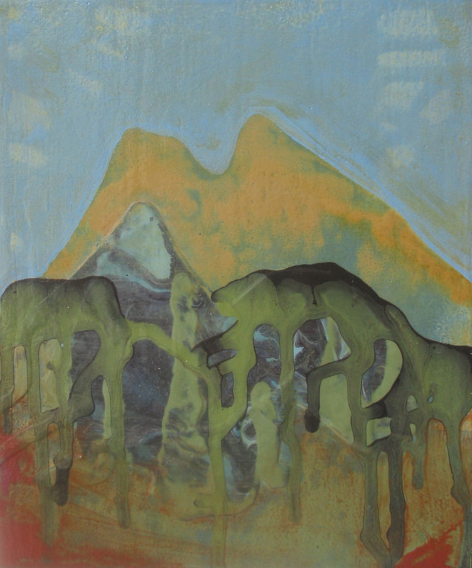 Acrylic painting Orange Mountain by Linda Henningson