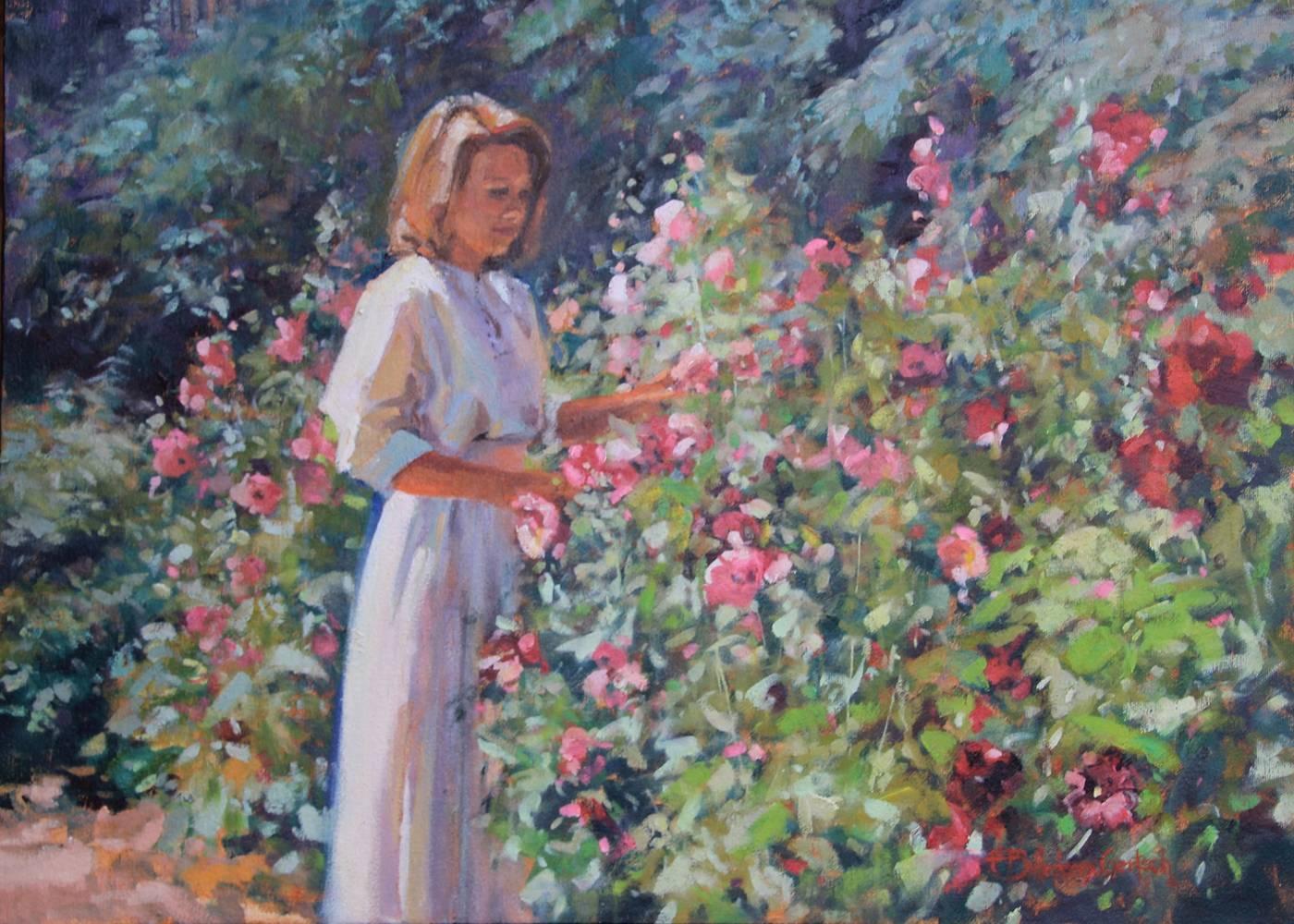 Hollyhock Garden - PleinAirParadise.com | Susette Billedeaux Gertsch