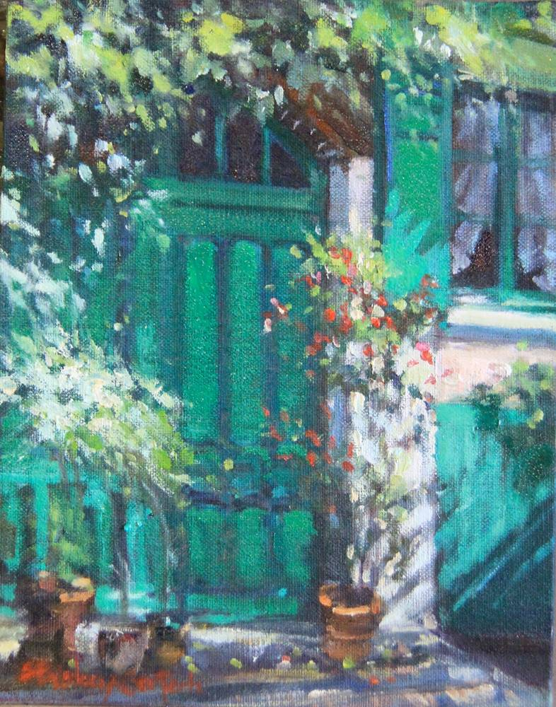 Oil painting Portes Vertes de Monet - Monet's Green Doors by Susette Gertsch