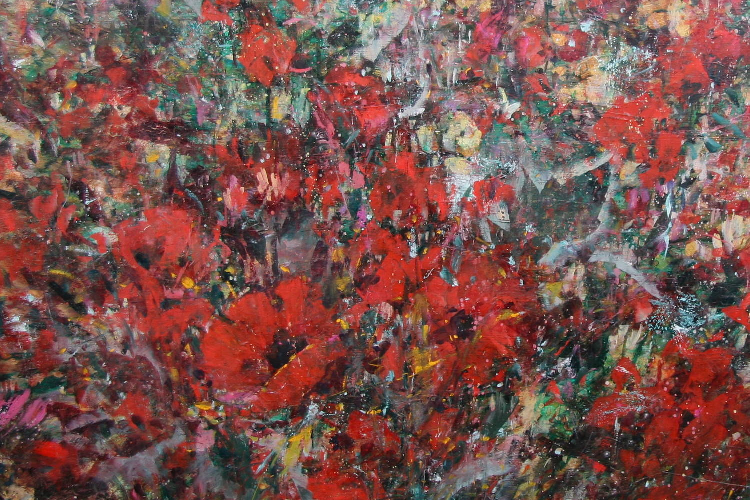 Acrylic painting Symphony in Red by Susette Gertsch