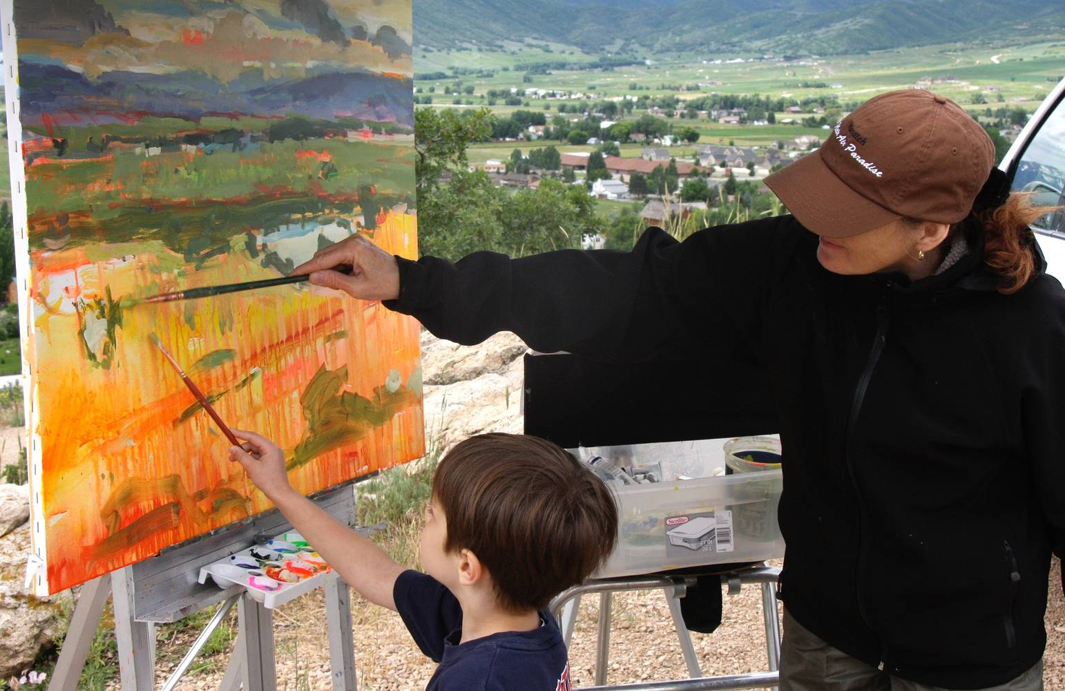 Painting with a little shiner, Memorial Hill, Midway by Susette Gertsch