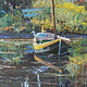 Oil painting Vogel en een Boot - Bird in a Boat by Susette Gertsch