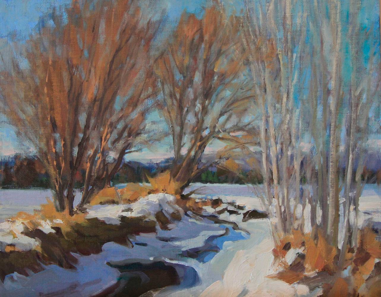 Oil painting Winter Canal Daniels by Susette Gertsch