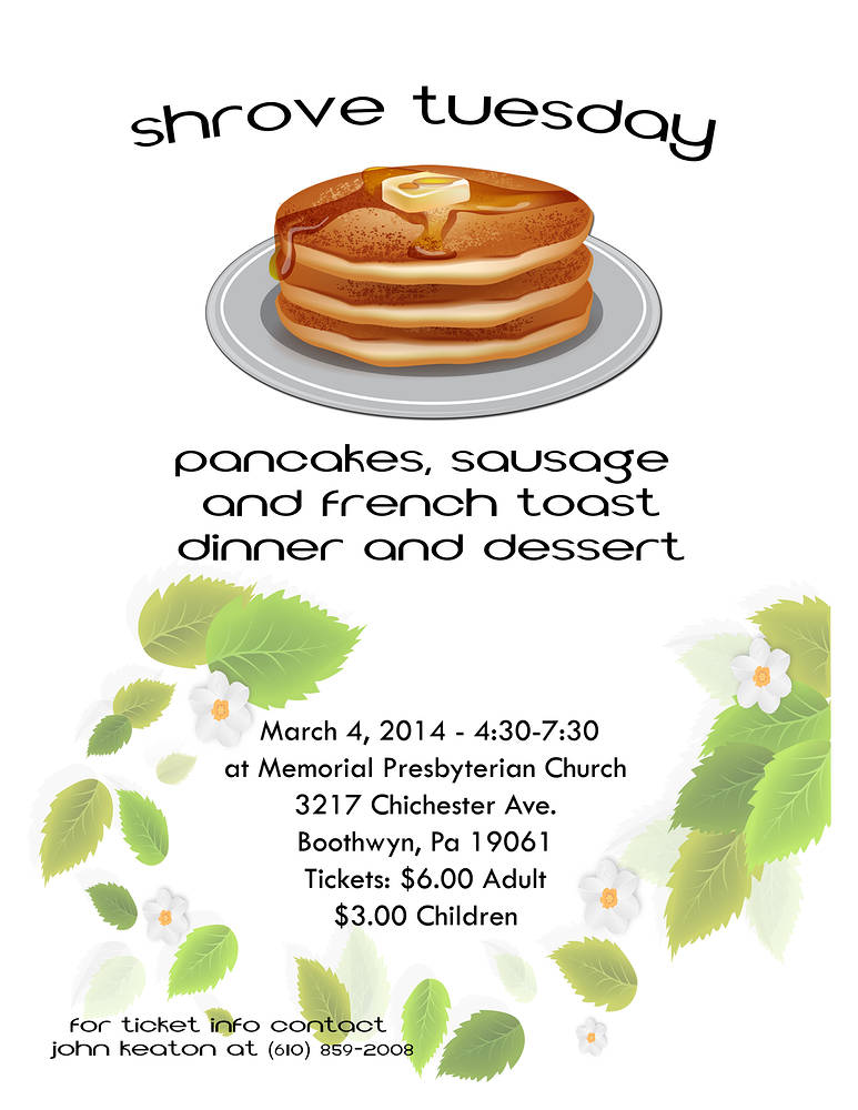 Shrove Tuesday Flyer by John Keaton