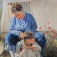 Painting Pioneer Mother & Daughter by Susette Gertsch