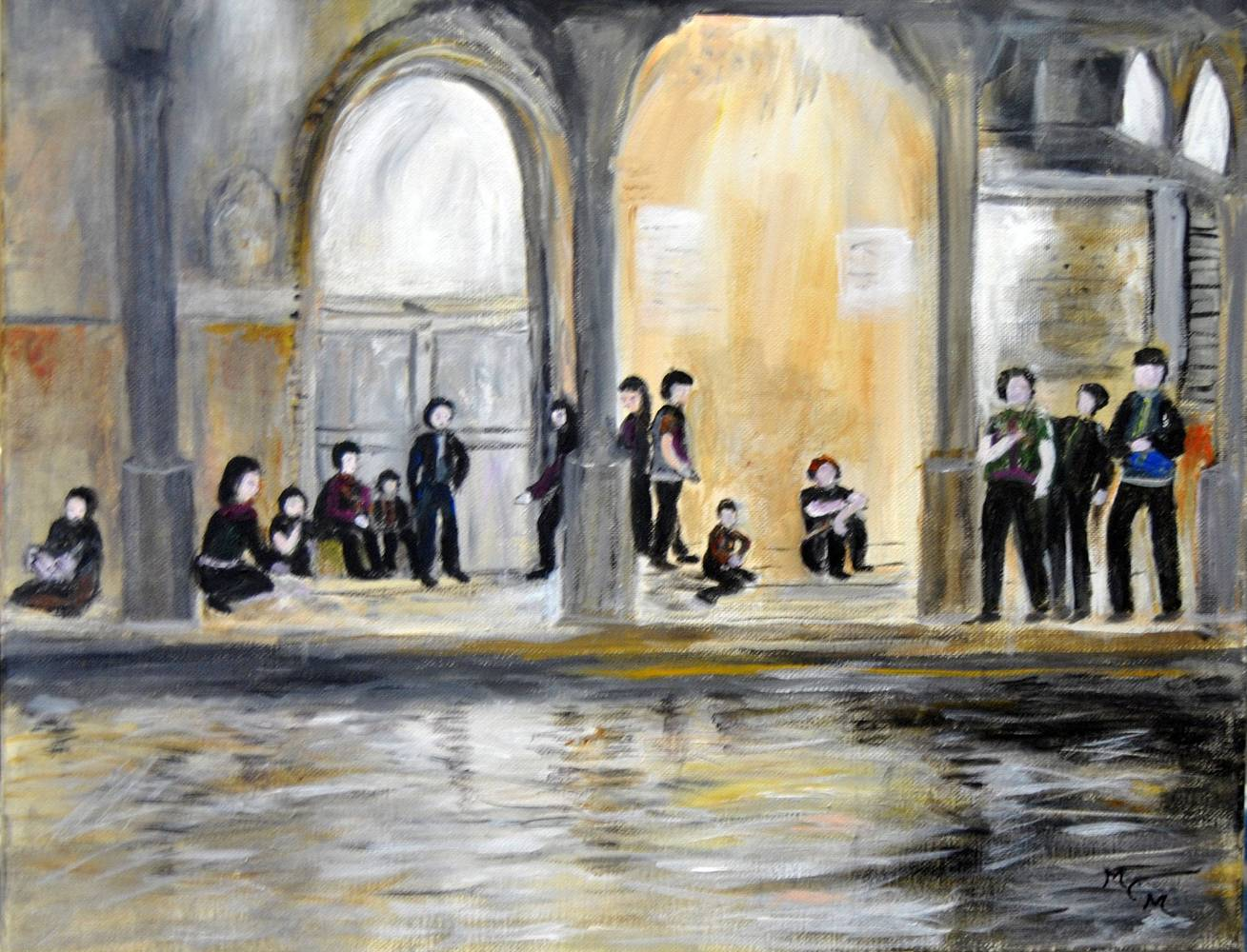 Acrylic painting Friday night in Venice  by Mary Chalmers Main