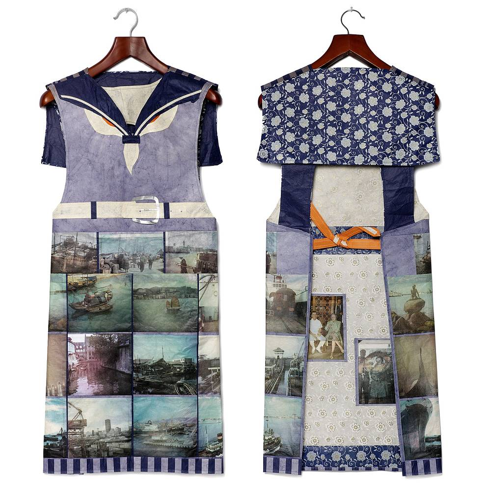 Nautical Apron, Four colour lithographs on kozo paper, assorted papers and thread, 100 x 44 cm. by Julie Mcintyre