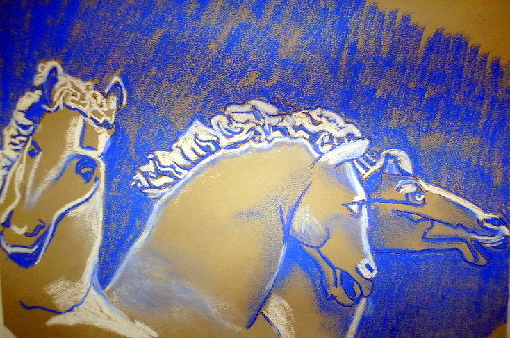 Drawing Three Horses by Lynne Stewart