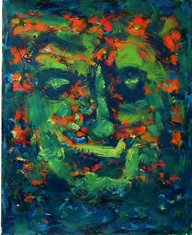 Acrylic painting Green Man 2. by Tom O'rourke